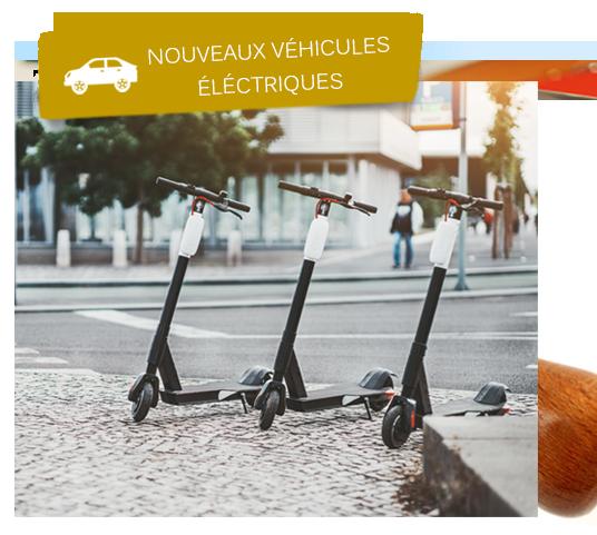 Trottinettes électriques rangés sur le trottoirs
